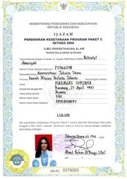 IJAZAH PAKET C-IPA LULUSAN TAHUN AJARAN 2019-2020