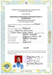 IJAZAH PAKET C-IPS LULUSAN TAHUN AJARAN 2019-2020